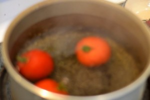 Tomatoes in hot water