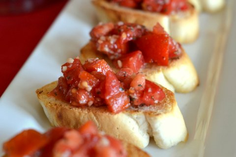 bruschetta, tomatoes, homemade, appetizer