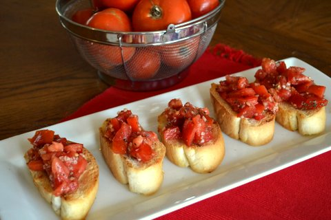 Bruschetta, tomatoes, homemade