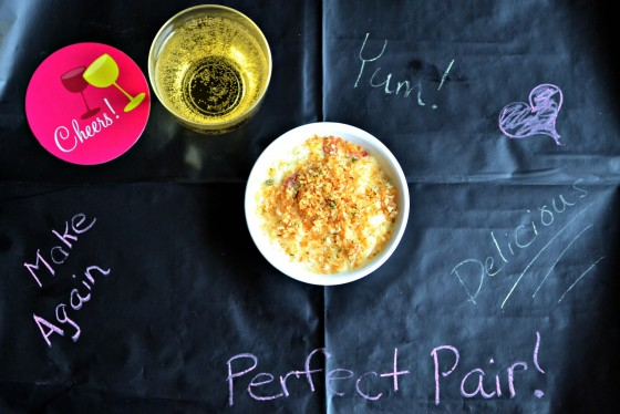 mac and cheese, chalkboard paper